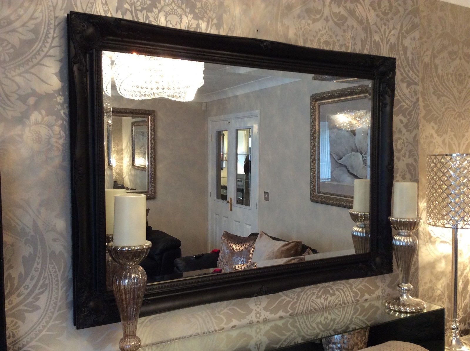 NEW Large Black Shabby Chic Bevelled Wall Mirror 36inch