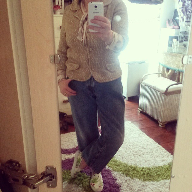 Their first outing - teamed with a 60's vintage jacket, Nicole Farhi blouse and shoes Primark.