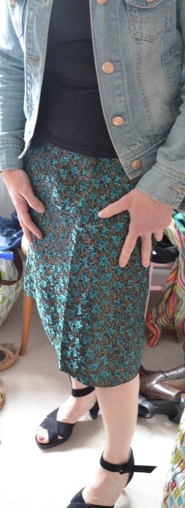 Same skirt with denim jacket.