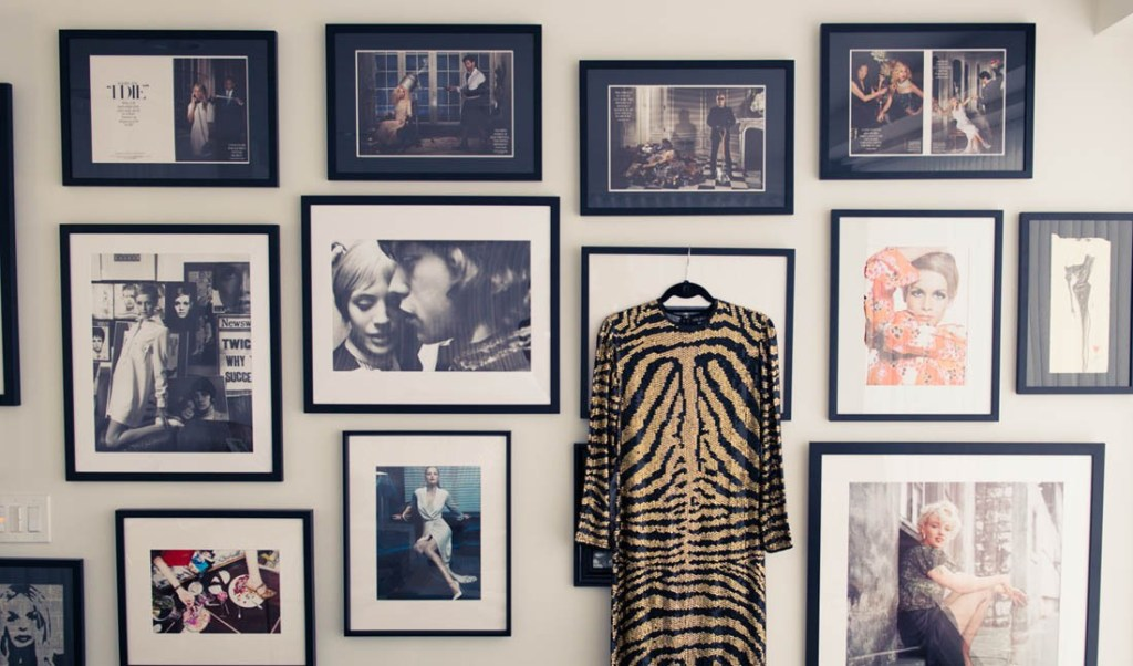 Magazine images, fashion spreads and favourite vintage pieces on the walls.