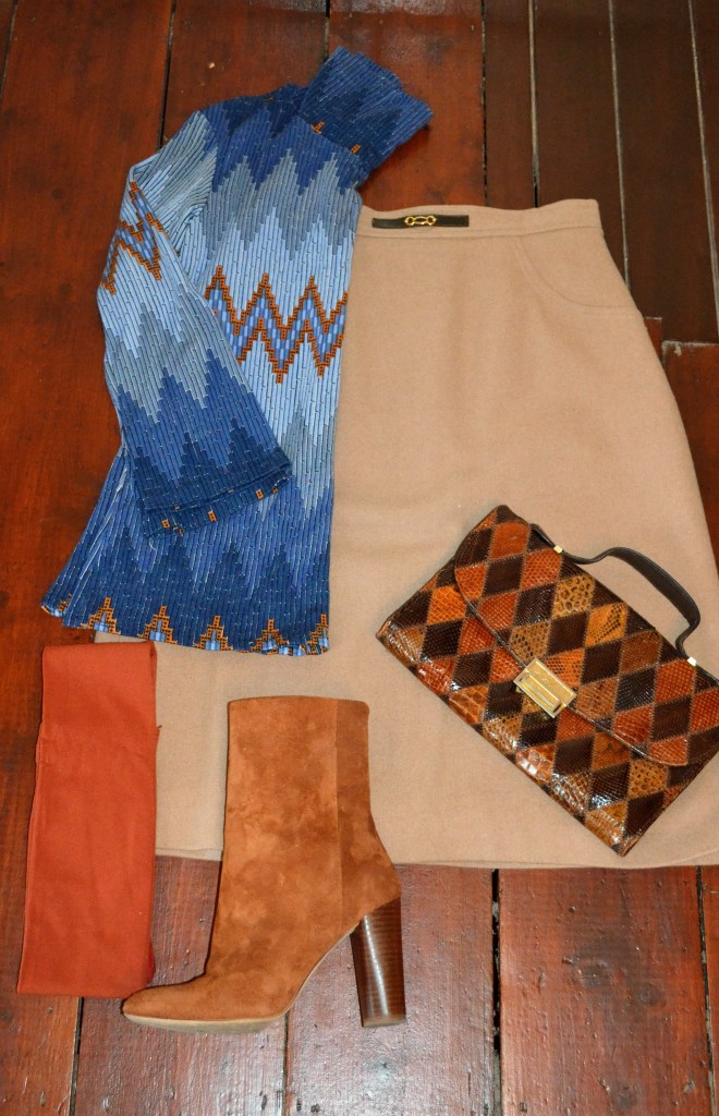 Top with a nod to a print from Feragamo, camel skirt Lulu Vintage, tights Jarrolds, boots H&M, bag Top Shop vintage.