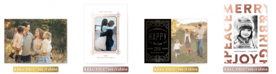 Foil Stamped holiday photo cards
