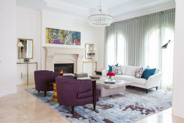 blue and purple living room 10 Spacious Mansion Living Room Ideas