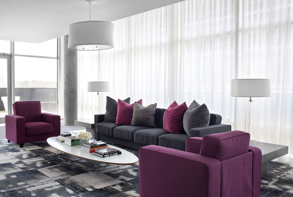 cool purple grey living room | 10 Purple Modern Living Room Decorating Ideas - Interior ...