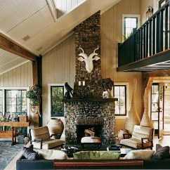 Lake House Living Room Photos Raymour And Flanigan Sets Thom Filicia Country Home New York Fireplace With A Reindeer Structure On Top