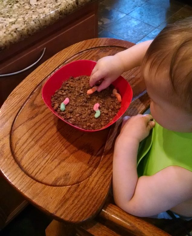 Sensory Play with Edible Dirt with toddler