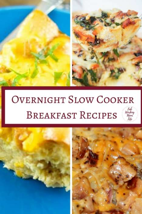 Overnight Slow Cooker Breakfast Recipes   Fab Working Mom Life   #breakfast #slowcooker #easyrecipes  Overnight Breakfast Bake, Overnight Breakfast Casserole, Mother's day bruch, slow cooker breakfast recipes