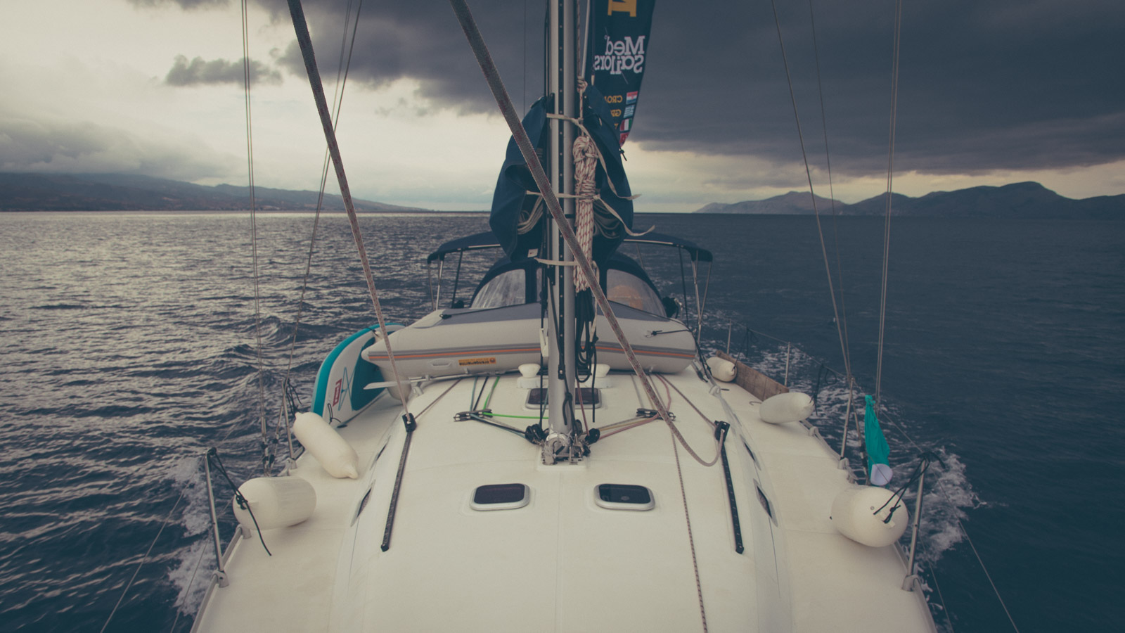Sail in grey day
