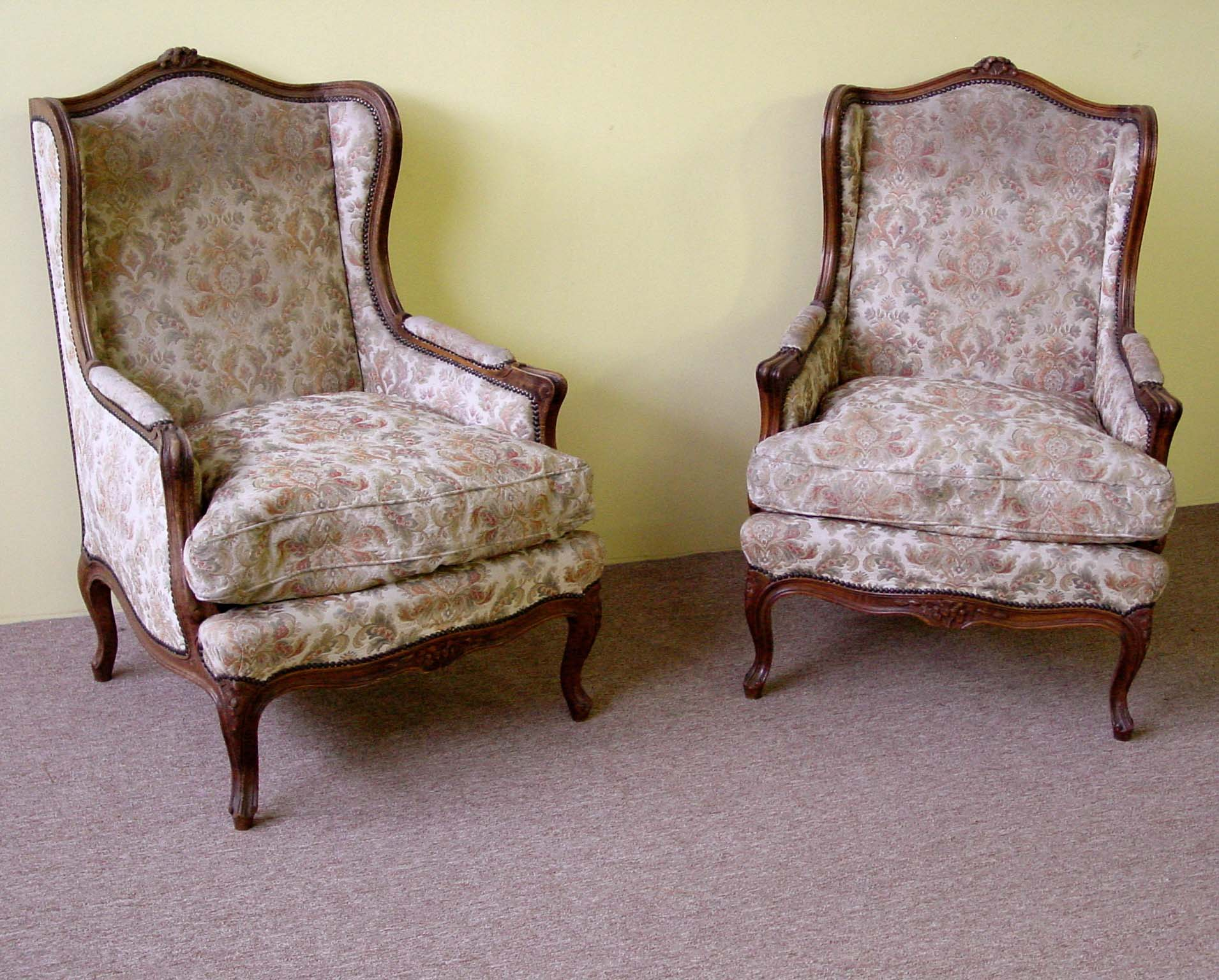 large wingback chair cover rental asheville pair of louis xv style chairs