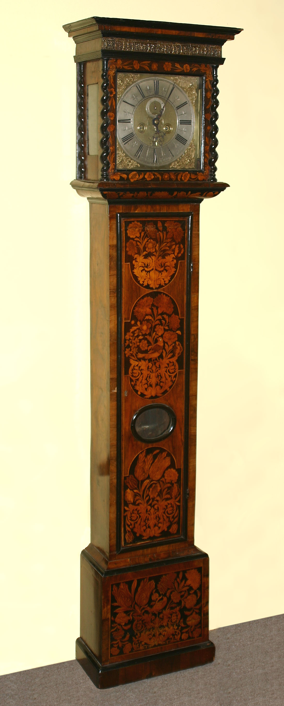 william and mary chair crushed velvet tub covers floral marquetry inlaid tall case clock