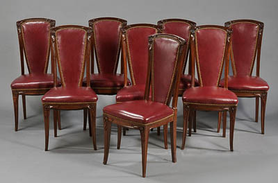 Set Of Eight French Art Nouveau Period Tall Back Dining