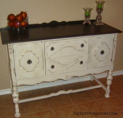 Antique White Buffet Dark Top