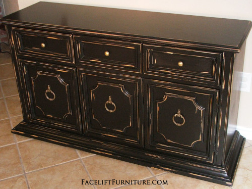 Black Distressed Cabinet - Facelift Furniture