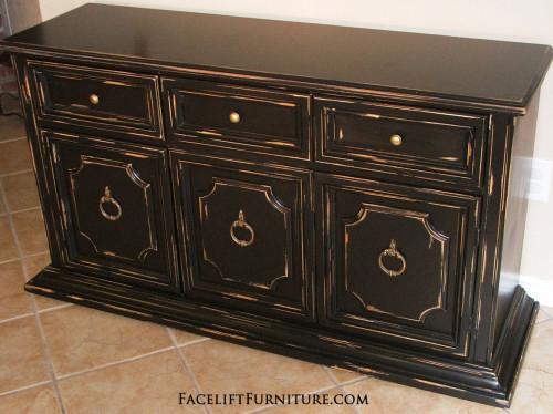 Black Distressed Cabinet - Facelift Furniture