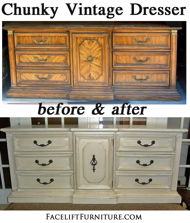 Antiqued White Chunky Vintage Dresser Before & After