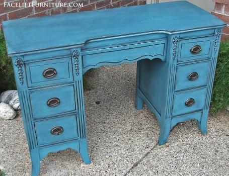 Peacock Blue Vanity Desk