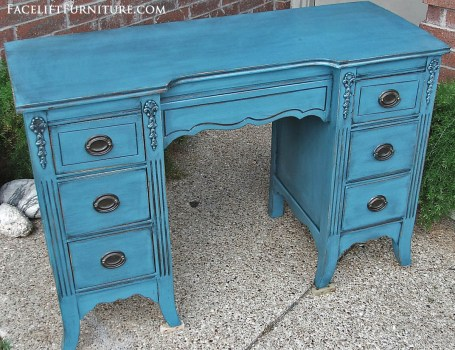 Peacock Blue Vanity Desk