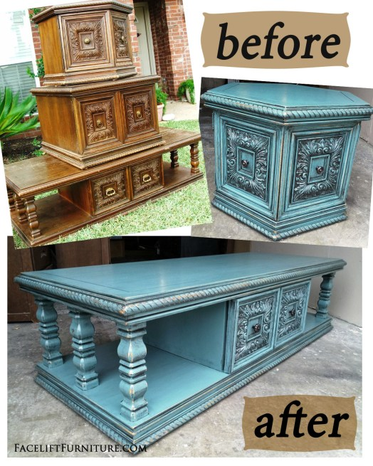 Sea Blue Chunky Before & After - Facelift Furniture