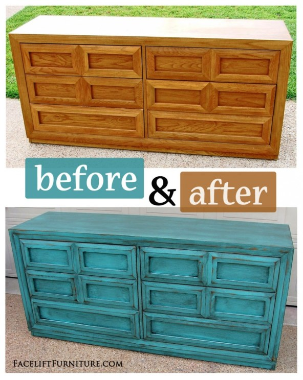 Turquoise Dresser with Heavy Black Glaze - Before & After