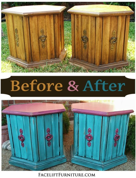 Turquoise & Pink Hexagon End Tables - Before & After