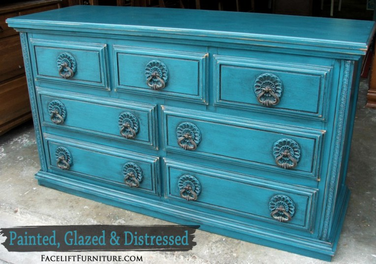 Peacock Blue Dresser - Painted Glazed Distressed