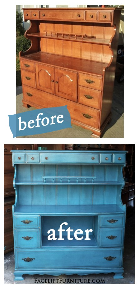 Peacock Blue Maple Hutch Before & After