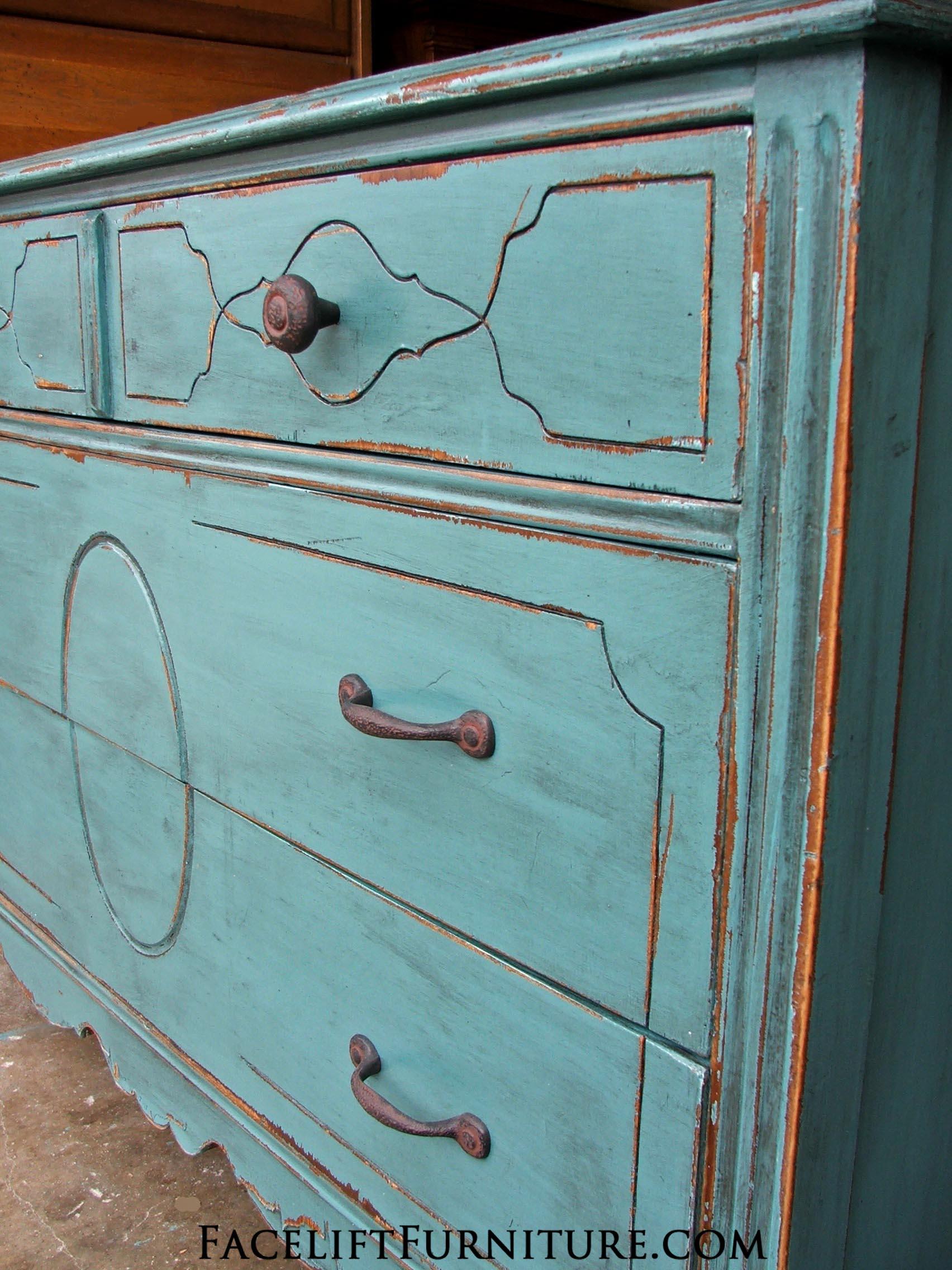 Rustic Sea Blue Dresser Facelift Furniture