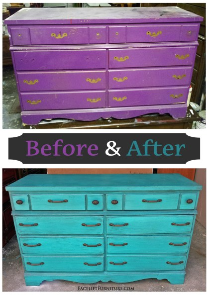 Rustic Turquoise Dresser - Before & After