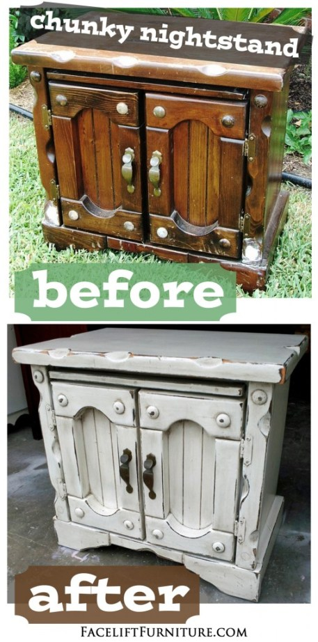 Chunky Nightstand in Antiqued White - Before & After