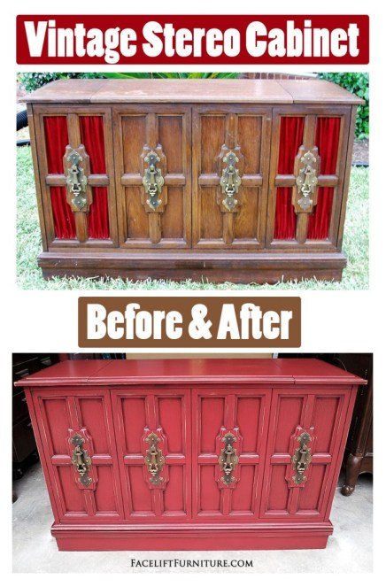 Vintage Stereo Cabinet ~ Before & After. From Facelift Furniture's DIY Blog.