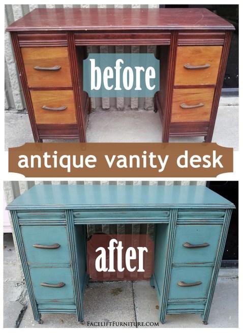 Sea Blue Antique Vanity Desk - Before & After. Facelift Furniture DIY Blog