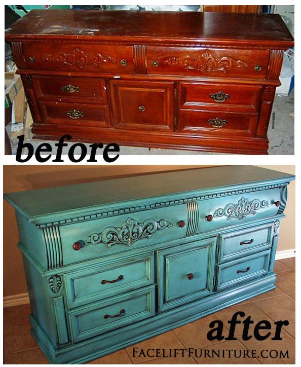 Ornate Dresser In Turquoise Before U0026 After U2013 Facelift Furniture DIY Blog