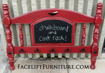Twin Footboard Re-purposed into Coat Rack and Chalkboard
