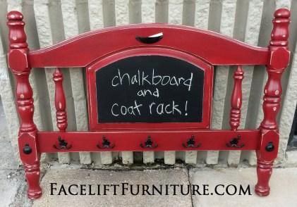 Twin Footboard Re-purposed into Coat Rack and Chalkboard