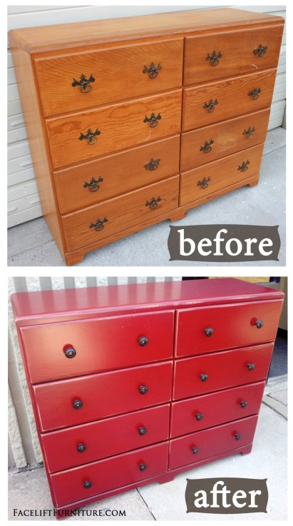 Barn Red Dresser ~ Before & After. How the simplest piece can be transformed to make a statement. From Facelift Furniture's DIY Blog.