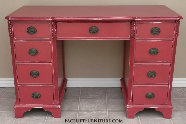 Antique Desk in Distressed Barn Red with Black Glaze. Facelift Furniture DIY Blog.