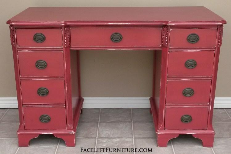 Antique Desk in Distressed Barn Red with Black Glaze. Facelift Furniture DIY Blog.