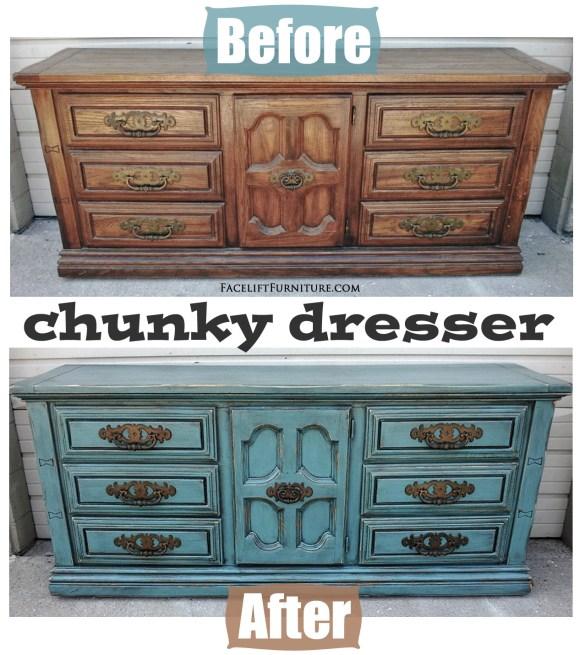 Chunky Sea Blue Dresser ~ Before & After.  Facelift Furniture DIY Blog.