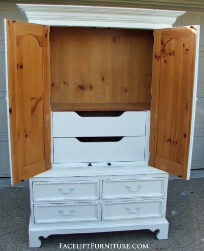Custom White Clothing Armoire Open