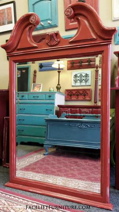 Ornate Mirror in Distresesd Blazing Orange. From Facelift Furniture's DIY Blog.