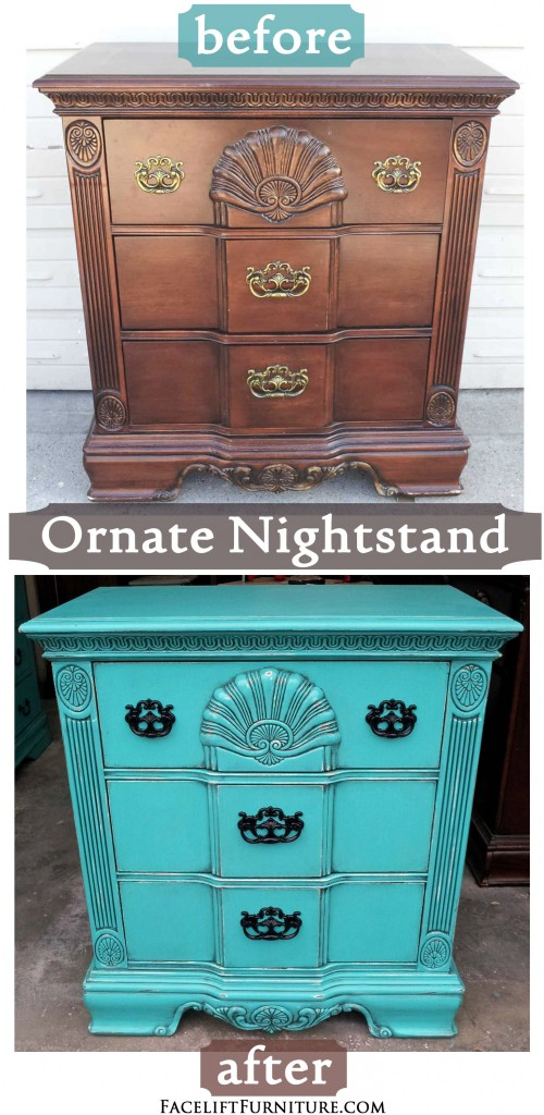 Ornate Nightstand Refinished In Turquoise With Black Glaze