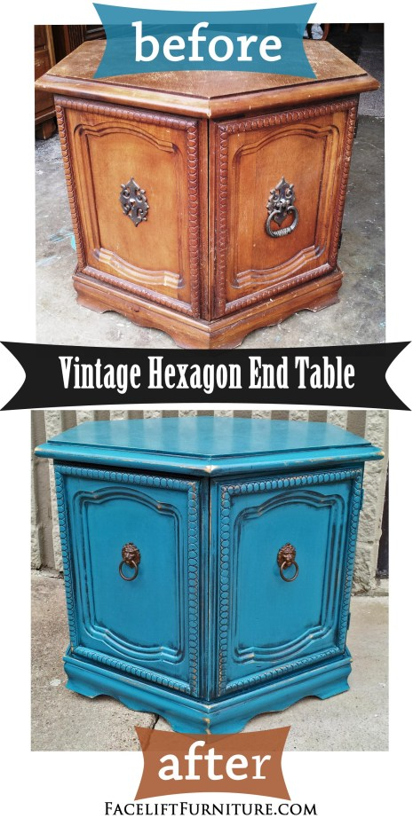 Peacock Blue Hexagon End Table - Before & After