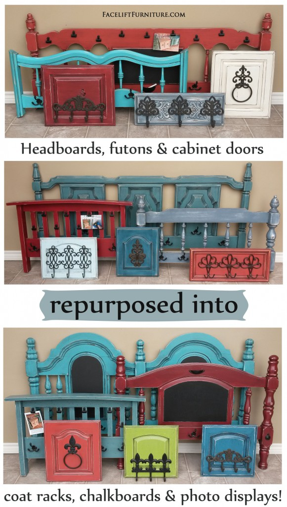 Headboards, Futon Arm Rests, And Cabinet Doors Repurposed Into Coat Racks,  Chalkboards,