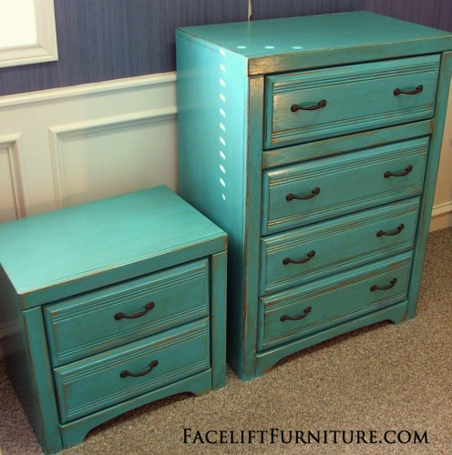 Turqouise Chest & Nightstand