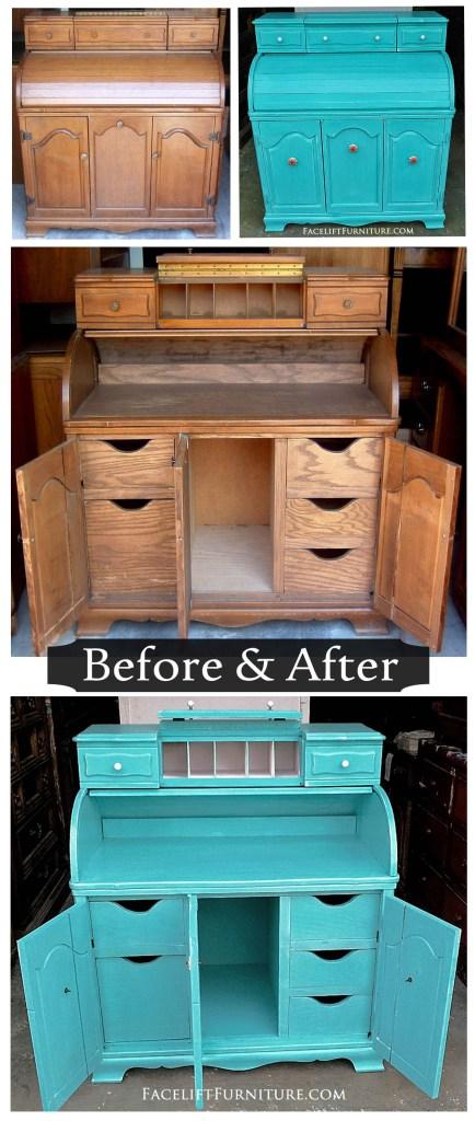 Turquoise Roll Top Desk - Before & After. Facelift Furniture DIY Blog.