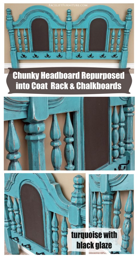 Turquoise Chunky Headboard Coat Rack2