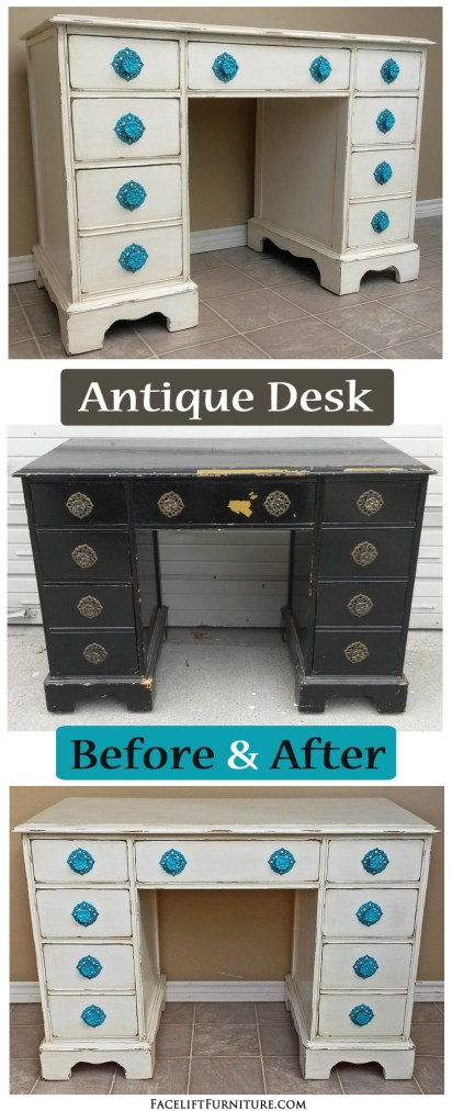Before & After Off White Desk Turq Pulls - Antique Desk In Off White With Turquoise Pulls – Facelift Furniture