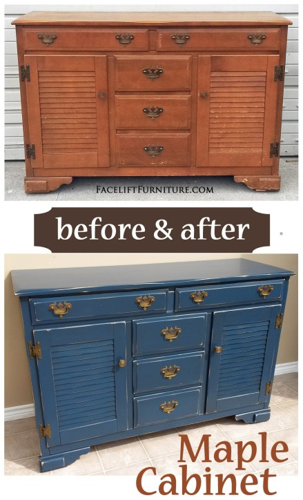 Distressed Denim Blue Maple Cabinet - Before & After