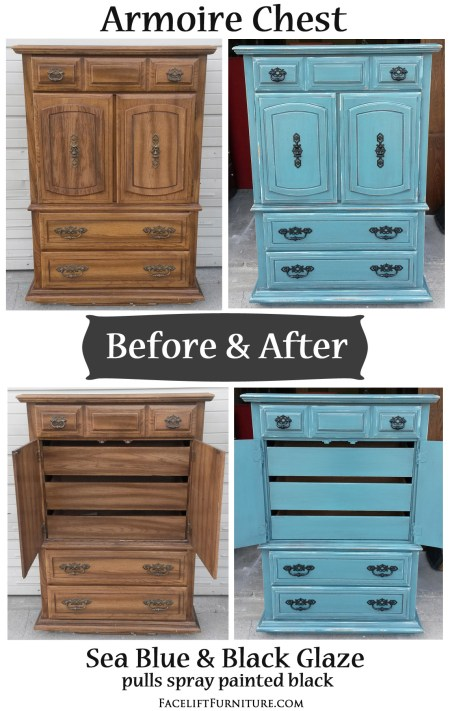 Armoire Chest in distressed Sea Blue with Black Glaze - Before & After. From Facelift Furniture