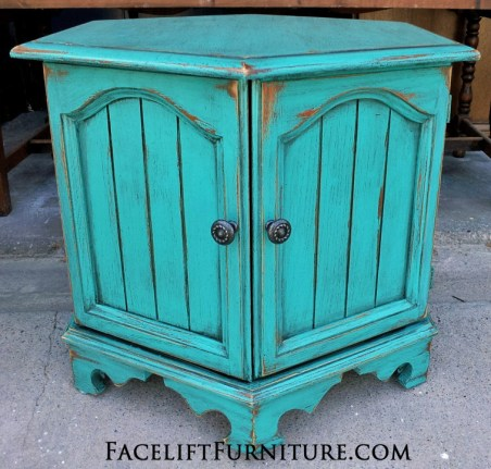 Turqouise Hexagon End Table Highly Distressed